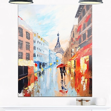 Couple Walking in Paris Romance, art mural en métal, 12 x 28 (MT6289-12-28)