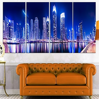 Dubai Marine Skyline Cityscape Photo Metal Wall Art, 48x28, 4 Panels, (MT7029-271)