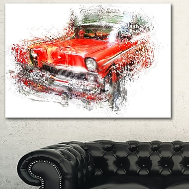 Orange Classic Car Metal Wall Art, 28x12, (MT2626-28-12)