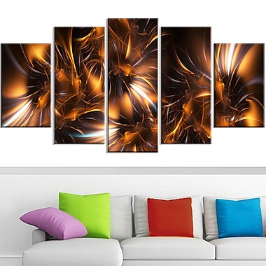 Silver and Gold Stars Metal Wall Art, 60x32, 5 Panels, (MT3039-373)