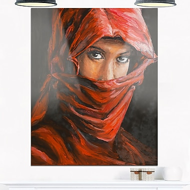 Arabian Woman in Hijab Portrait Metal Wall Art, 12x28, (MT6278-12-28)