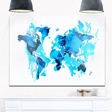 Blue Ice Map Metal Wall Art, 28x12, (MT2717-28-12)