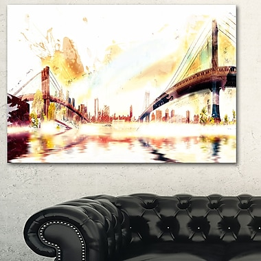 Golden Bridges Cityscape Large Metal Wall Art, 28x12, (MT3306-28-12)