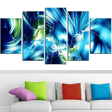 Green and Blue Shine Metal Wall Art, 60x32, 5 Panels, (MT3062-373)