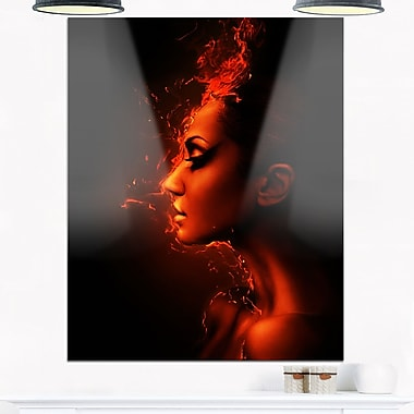 Burning Woman Head Portrait Contemporary Metal Wall Art, 12x28, (MT6901-12-28)