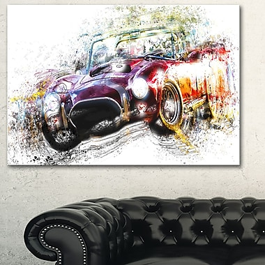 Colourful Abstract Convertible Car Metal Wall Art, 28x12, (MT2654-28-12)