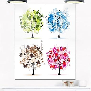 Art floral mural en métal, ensemble d'arbres en fleurs, 12 x 28 po (MT6521-12-28)