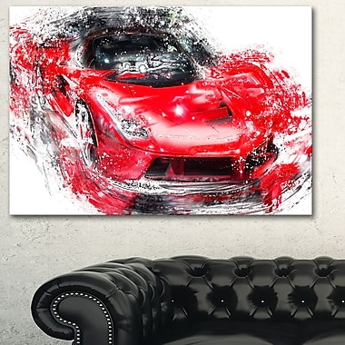 Red Exotic Car, art mural en métal, 28 x 12 (MT2634-28-12)