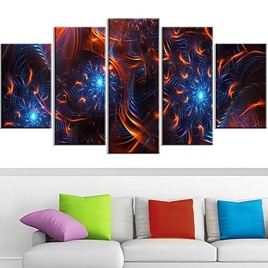 Art mural en métal au design numérique « Fire & Ice », thème feu et glace, 60 x 32, 5 panneaux (MT3001-373)