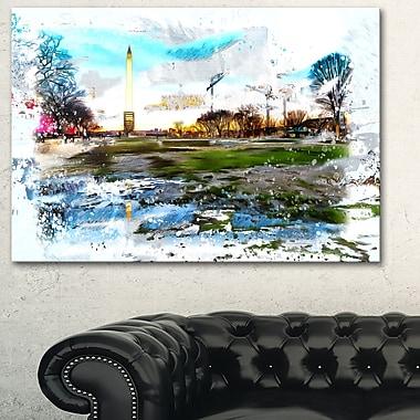Washington Monument abstrait art mural en métal, 28 x 12, (MT2803-28-12)
