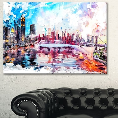 Colourfull NYC Cityscape Metal Wall Art, 28x12, (MT2811-28-12)
