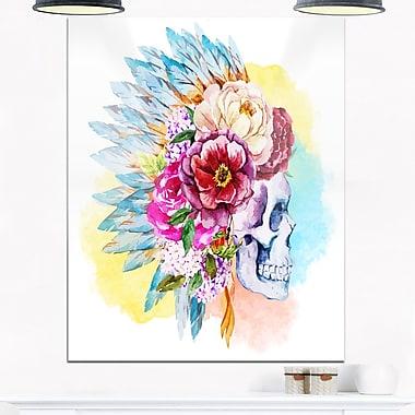 Art mural en métal, tête de mort et fleurs, art numérique, 12 x 28 (MT6632-12-28)