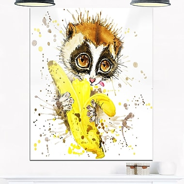 Lemur Eating Banana Graphics Art, Animal Metal Wall Art, 12x28, (MT6061-12-28)