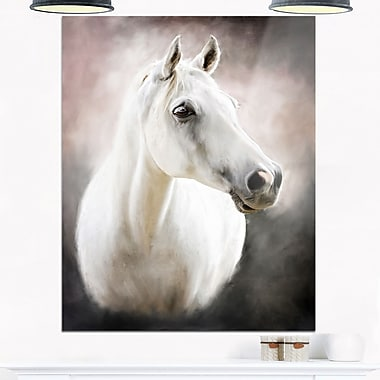 Lovely White Horse Animal Metal Wall Art, 12x28, (MT6376-12-28)