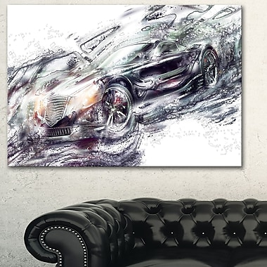 Abstract Black Super Car Metal Wall Art, 28x12, (MT2602-28-12)