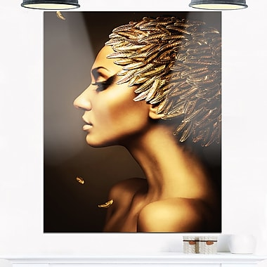 Woman with Gold Feather Hat Contemporary Metal Wall Art, 12x28, (MT6891-12-28)