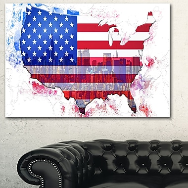 American City Map Metal Wall Art, 28x12, (MT2829-28-12)