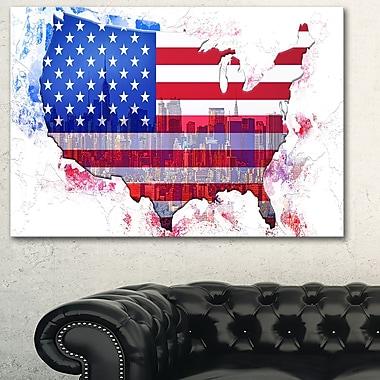 Art mural en métal, carte, ville d'Amérique, 28 x 12 po (MT2829-28-12)