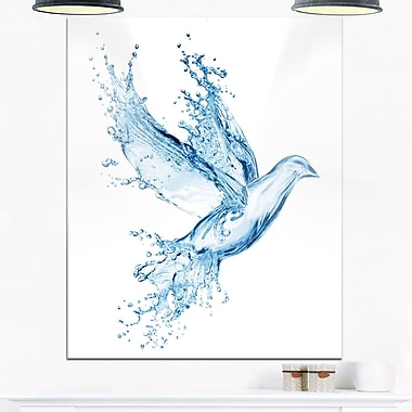 Dove from Water Splashes Animal Digital Metal Wall Art, 12x28, (MT6753-12-28)