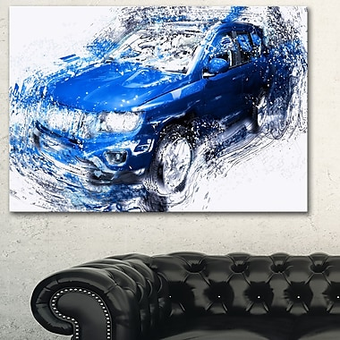 Blue Tuner Car Metal Wall Art, 28x12, (MT2645-28-12)