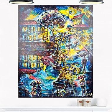 Art mural en métal, paysage urbain, art graphique ville la nuit, 12 x 28 po, (MT6073-12-28)