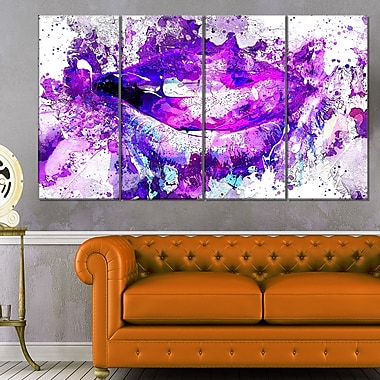Purple LipsSensual Metal Wall Art, 48x28, 4 Panels, (MT2935-271)