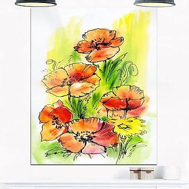 Bouquet Poppies Floral Metal Wall Art, 12x28, (MT6005-12-28)