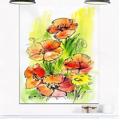 Art mural floral en métal, bouquet de coquelicots, 12 x 28 po, (MT6005-12-28)