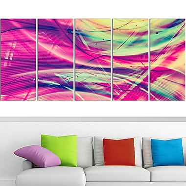 Pink and Yellow Vintage Abstract Metal Wall Art, 60x28, 5 Panels, (MT3063-401)
