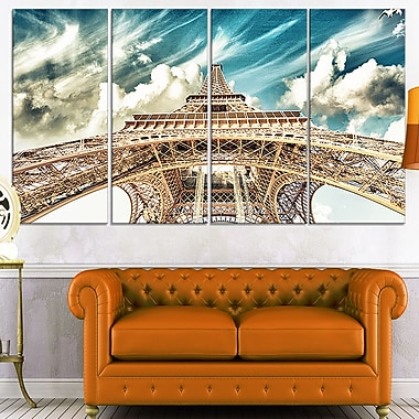 Eiffel Tower Under Blue Sky Photography Metal Wall Art, 48x28, 4 Panels, (MT7778-271)