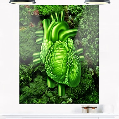 Green Healthy Heart Contemporary Metal Wall Art, 12x28, (MT6768-12-28)