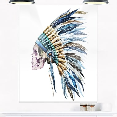 American Native Hat and Skull Digital Metal Wall Art, 12x28, (MT6650-12-28)
