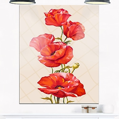Bunch of Poppies Vector Art, art mural floral en métal, 12 x 28 (MT6290-12-28)