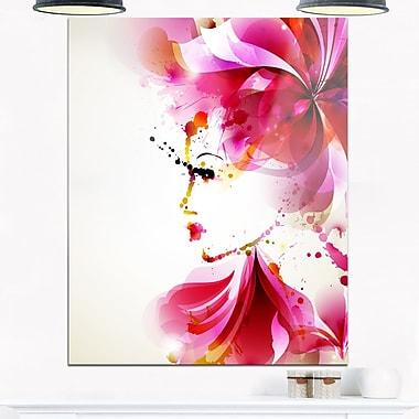 Art mural en métal, femme à la mode avec cheveux abstraits, art numérique, 12 x 28 (MT6660-12-28)