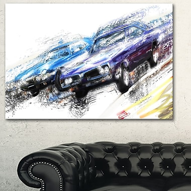 Finish Line Muscle Car Race Metal Wall Art, 28x12, (MT2647-28-12)