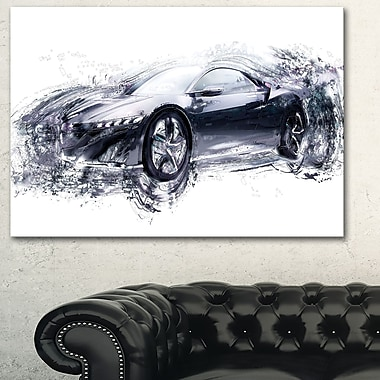 Sleek Black Exotic Car Metal Wall Art, 28x12, (MT2627-28-12)