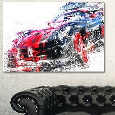 Red and Black Sports Car Metal Wall Art, 28x12, (MT2638-28-12)