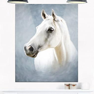 Art mural en métal d'animal, un cheval blanc seul, 12 x 28 po (MT6390-12-28)