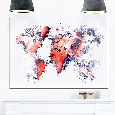 Red and Grey Map Metal Wall Art, 28x12, (MT2738-28-12)