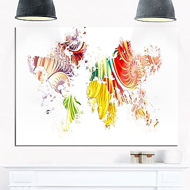Colourful World Map Metal Wall Art, 28x12, (MT2719-28-12)