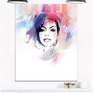 Art mural en métal, portrait d'une belle fille, art numérique, 12 x 28 (MT6685-12-28)
