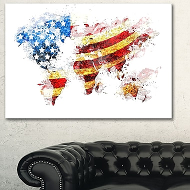 US Flag Across the Map Metal Wall Art, 28x12, (MT2827-28-12)