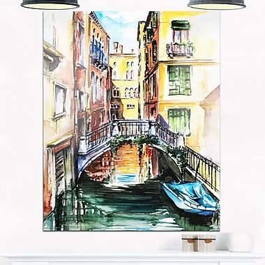 Venice Canal Meeting Bridge Cityscape Metal Wall Art, 12x28, (MT6135-12-28)