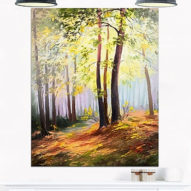 Spring Forest with Sunlight Landscape Metal Wall Art, 12x28, (MT6110-12-28)