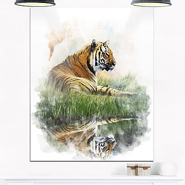 Relaxing Tiger Animal Metal Wall Art, 12x28, (MT6052-12-28)