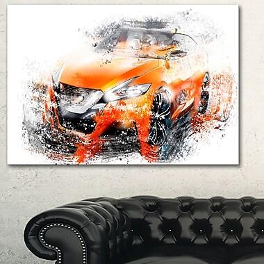 Orange Rally Car Metal Wall Art, 28x12, (MT2635-28-12)