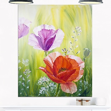 Poppies in the Morning Floral Metal Wall Art, 12x28, (MT6085-12-28)