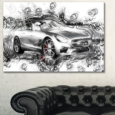 Abstract Grey Luxury Car Metal Wall Art, 28x12, (MT2619-28-12)