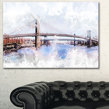 Bridge Cityscape Large Metal Wall Art, 28x12, (MT3318-28-12)