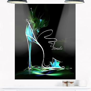 Art mural en métal, chaussure verte à talon haut, art numérique, 12 x 28 (MT6693-12-28)